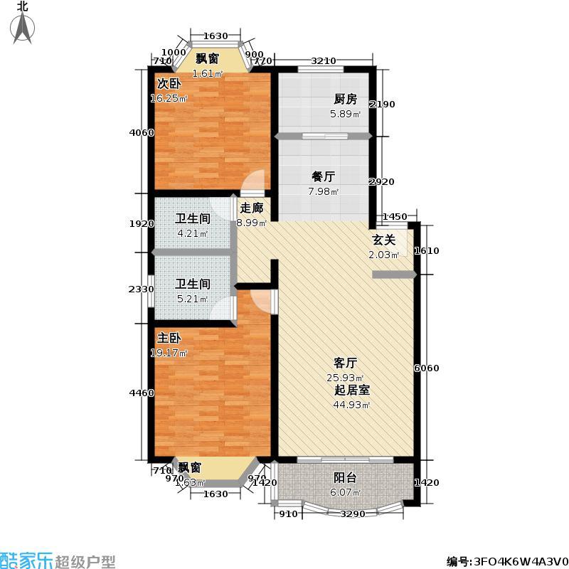 锦馨苑二期房型: 二房; 面积段: 114 -128 平方米; 户型