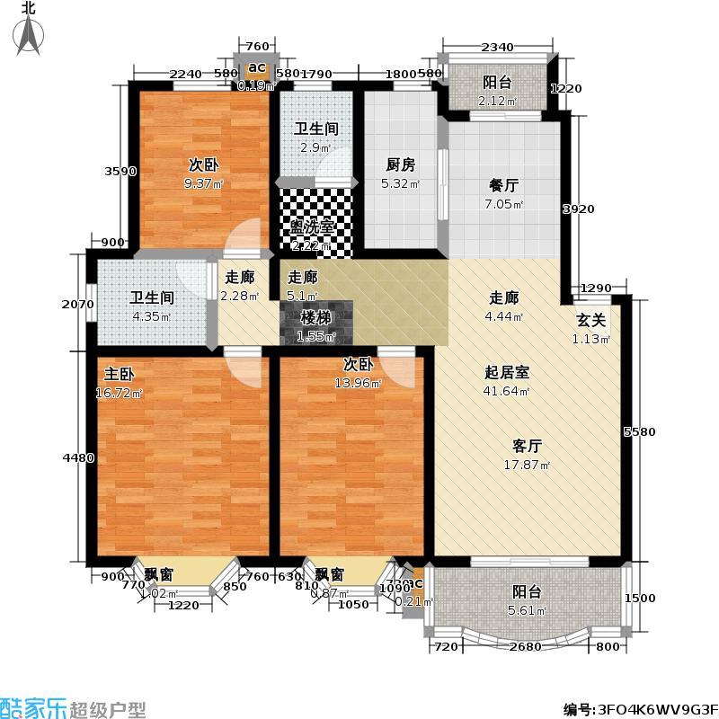 乾泽园114.00㎡房型: 三房; 面积段: 114 -143 平方米;户型