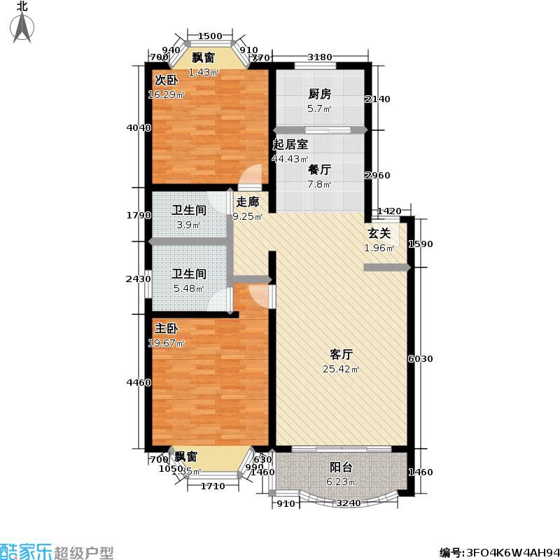 锦馨苑二期户型2室2卫1厨