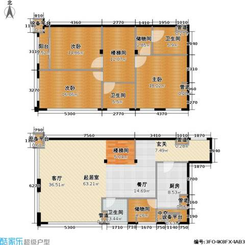 东晶国际3室0厅3卫1厨223.00㎡户型图