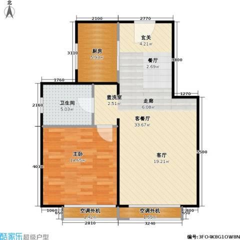 燕莎・后1室1厅1卫1厨74.00㎡户型图