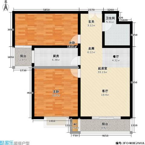 上都名苑2室0厅1卫1厨99.00㎡户型图