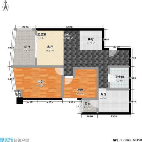 都市风采・泊景轩(二期)2室0厅1卫1厨74.03㎡户型图