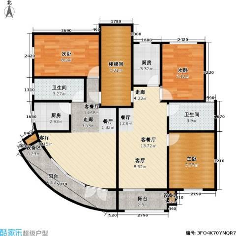 荣鑫公寓3室2厅2卫2厨90.00㎡户型图