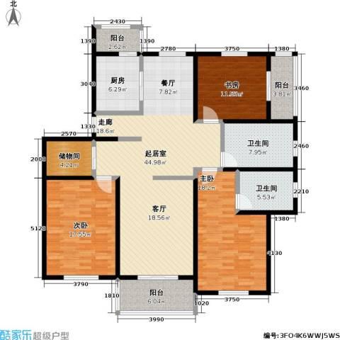 铭晖西郊苑二期3室0厅2卫1厨128.71㎡户型图