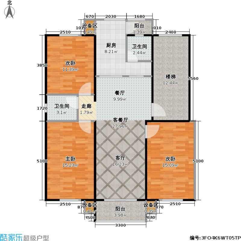 香港花园房型户型3室1厅2卫1厨