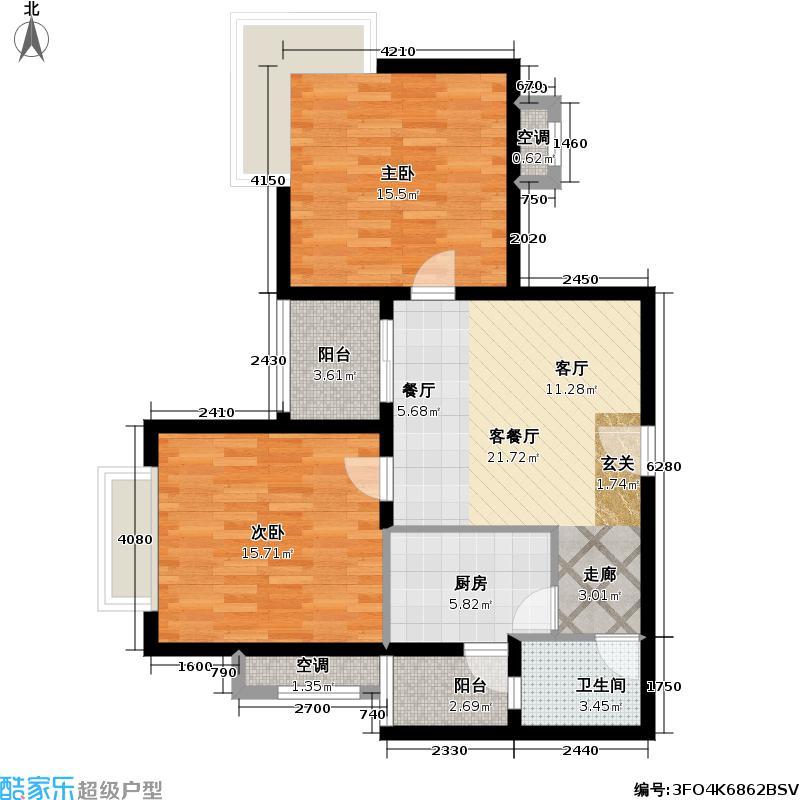 航空新城1号78.00㎡航空新城1号户型图二房一厅(1/38张)户型10室