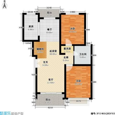 联鑫虹桥苑一期2室0厅1卫1厨127.00㎡户型图