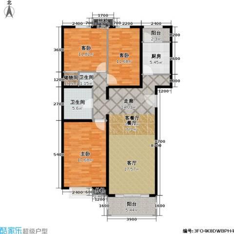京品3室1厅1卫1厨108.00㎡户型图