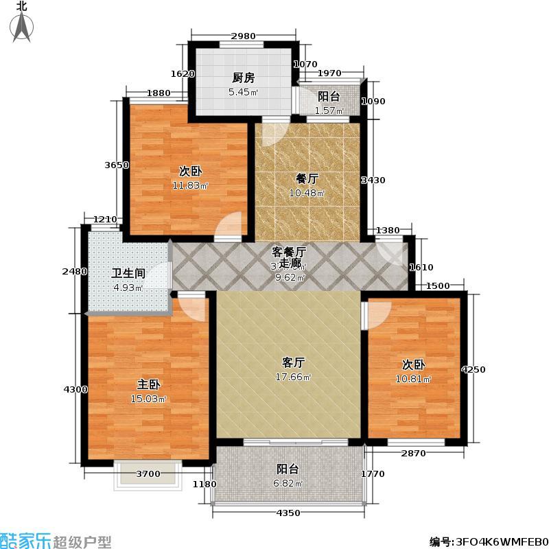 证大家园(一二期)105.00㎡房型: 三房; 面积段: 105 -127.5 平方米; 户型