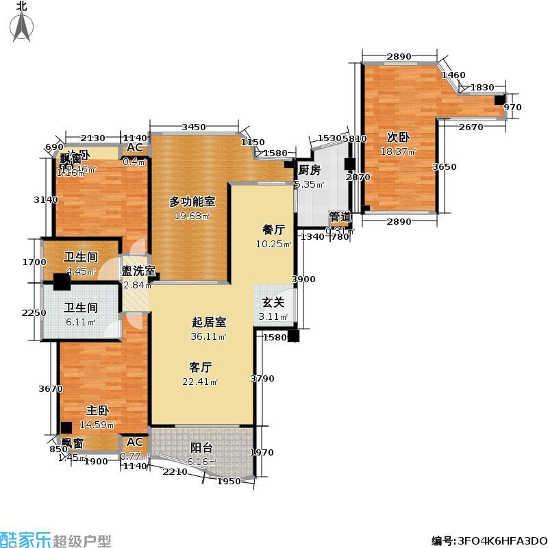 福隆城1#、4#楼01、09单元三房两厅两卫两阳台,约131.17-136.18㎡户型