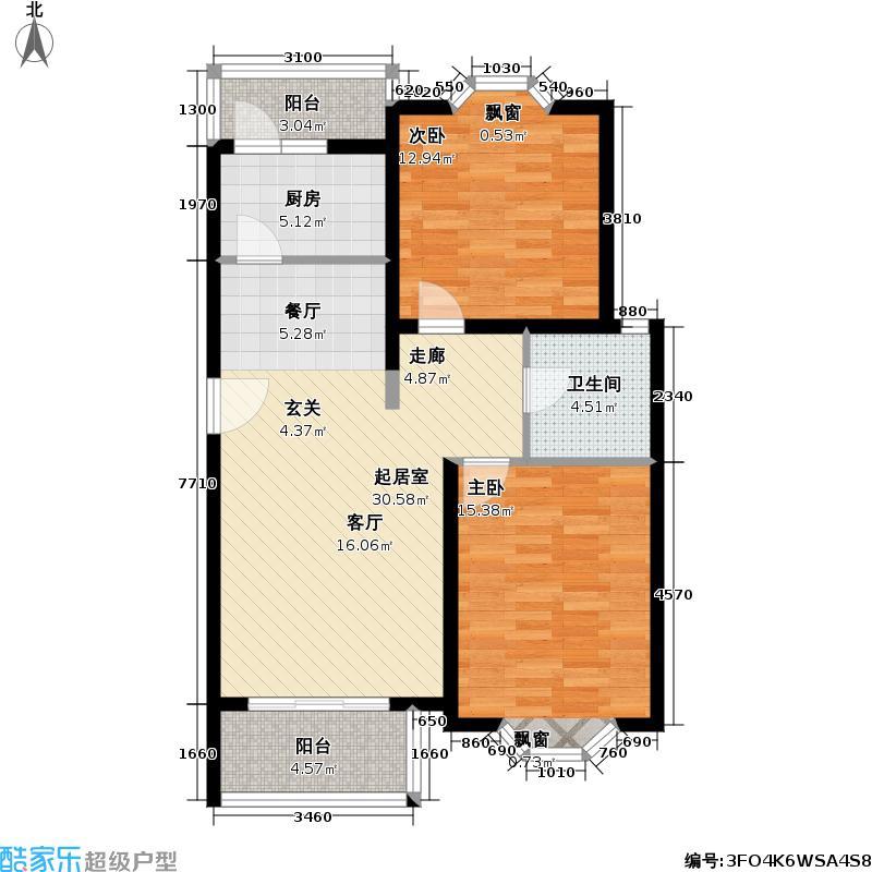 新时代花园二期房型户型2室1卫1厨