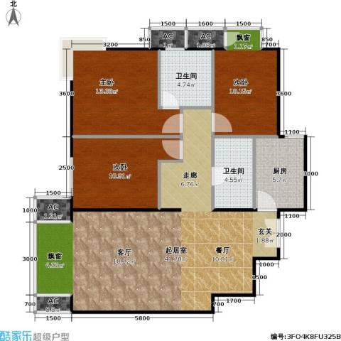 星源国际公寓3室0厅2卫1厨128.00㎡户型图