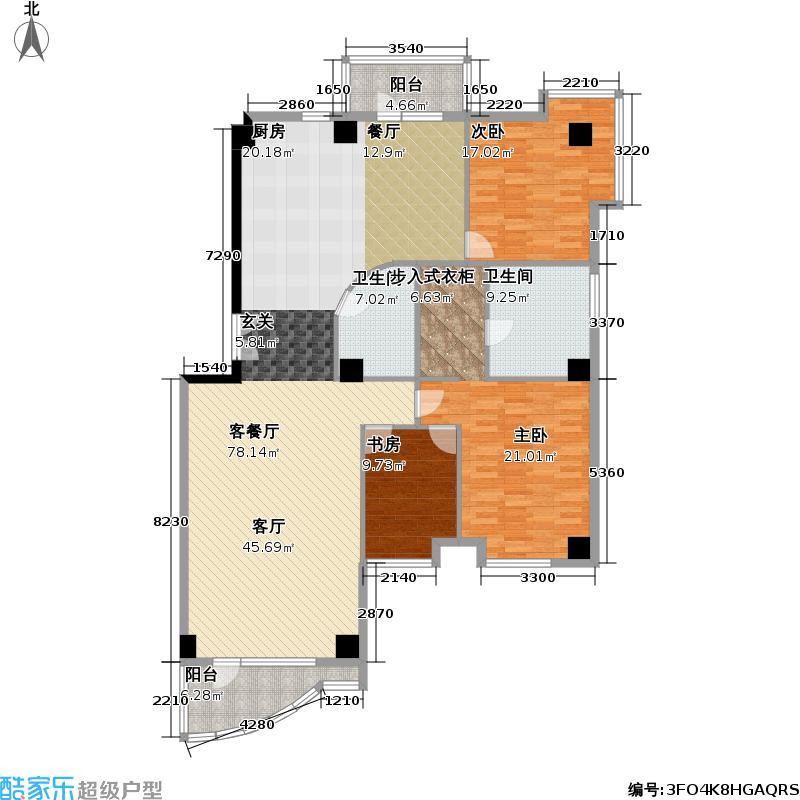 水岸名居175.20㎡三室二厅二卫户型