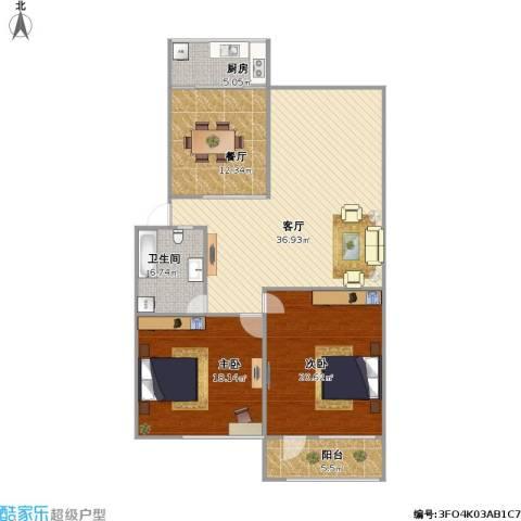 百花小区2室2厅1卫1厨140.00㎡户型图