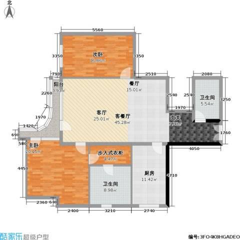 水岸名居2室1厅2卫1厨131.00㎡户型图