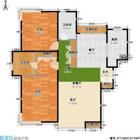 燕莎・后2室1厅2卫1厨115.00㎡户型图