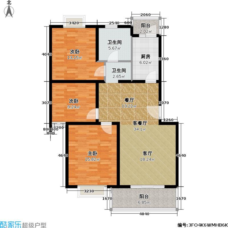 日月新苑101.00㎡房型: 三房; 面积段: 101 -113 平方米; 户型