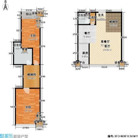 东晶国际2室1厅2卫1厨127.00㎡户型图