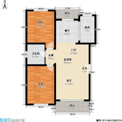 联鑫虹桥苑一期2室0厅1卫1厨155.00㎡户型图