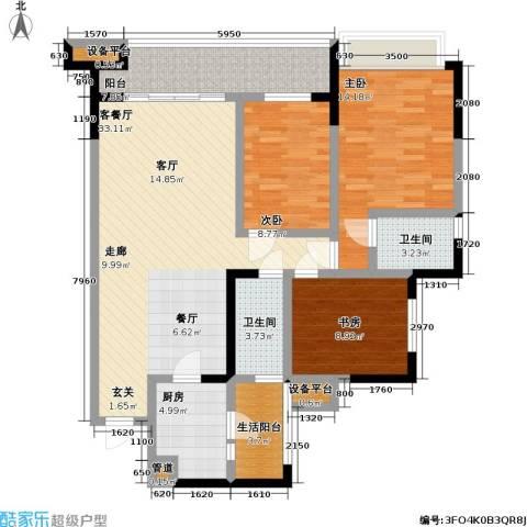 润锦御珑山3室1厅2卫1厨121.00㎡户型图