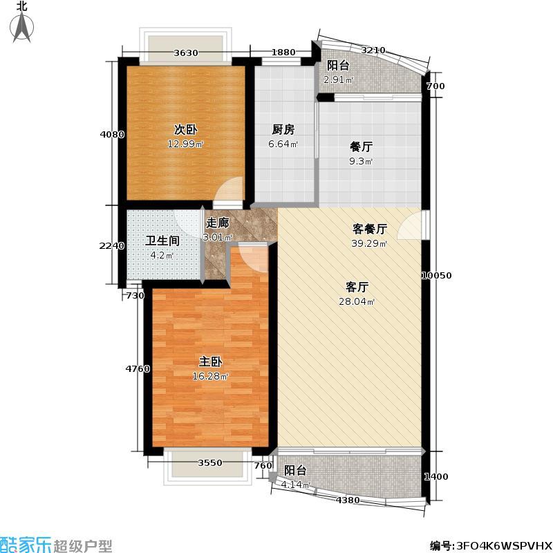 阳光美景城98.20㎡房型: 二房; 面积段: 98.2 -112.06 平方米;户型