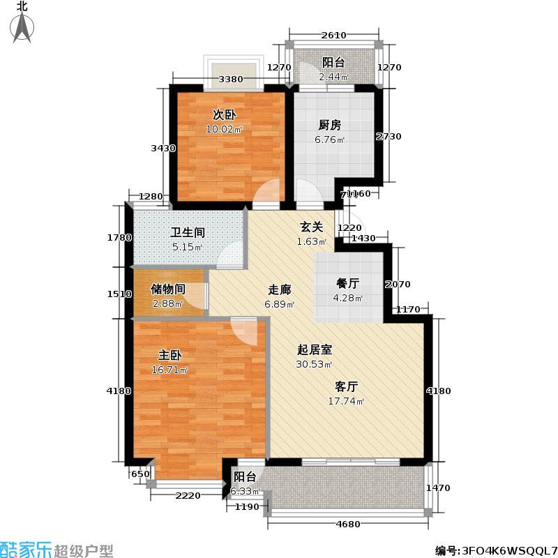 上海春城一期房型户型2室1卫1厨