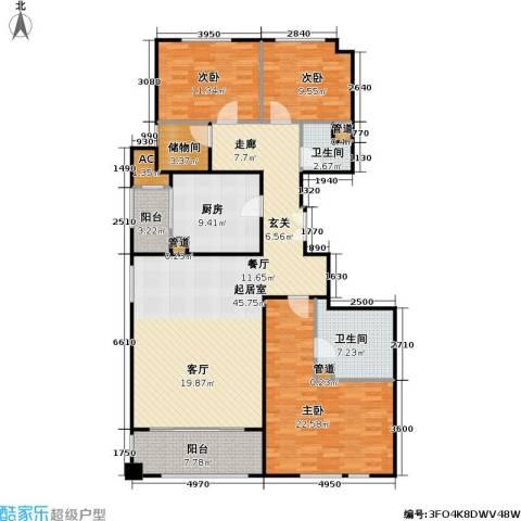 翠湖天地御苑3室0厅2卫1厨135.15㎡户型图