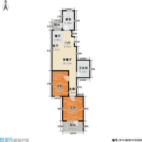 悦园(悦莱苑)2室1厅1卫1厨76.00㎡户型图