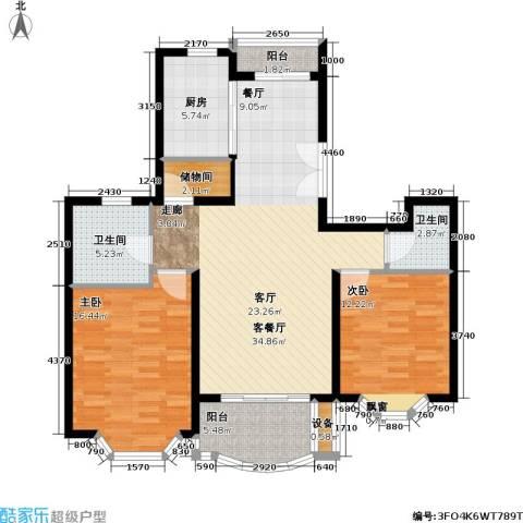 东苑世纪名门花园2室1厅2卫1厨100.00㎡户型图