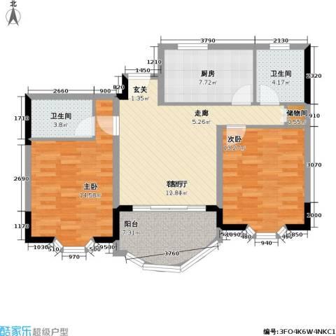 鑫龙苑一期2室1厅2卫1厨81.00㎡户型图