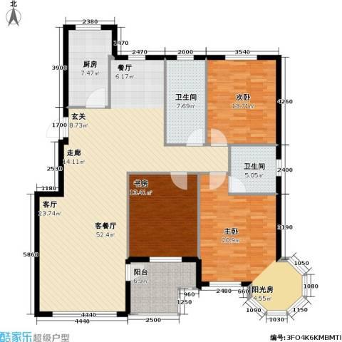 沈阳绿色家园3室1厅2卫1厨175.00㎡户型图