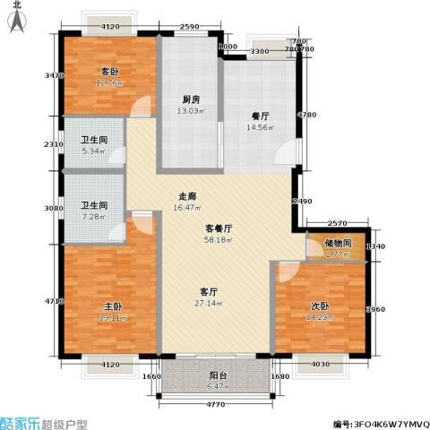 申地公寓二期3室1厅2卫1厨194.00㎡户型图