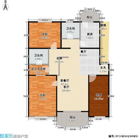 南草坪花园3室1厅2卫1厨124.00㎡户型图