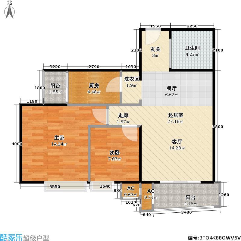 富力城121.00㎡三居室1户型