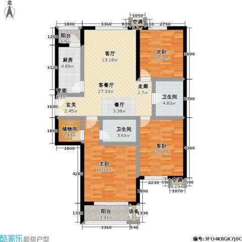 青塔东里小区3室1厅2卫1厨126.00㎡户型图
