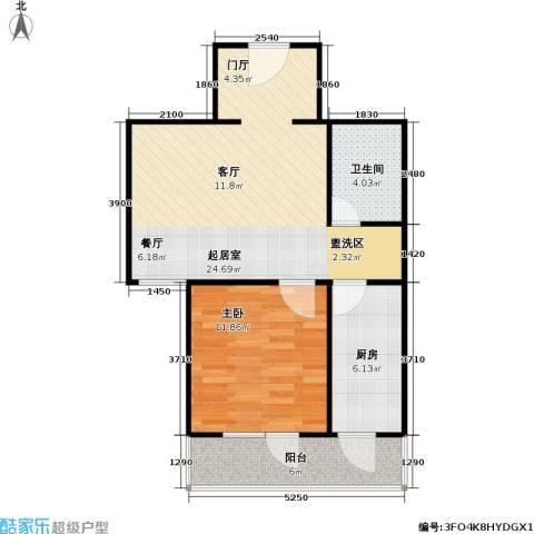 悦园(悦莱苑)1室0厅1卫1厨61.00㎡户型图