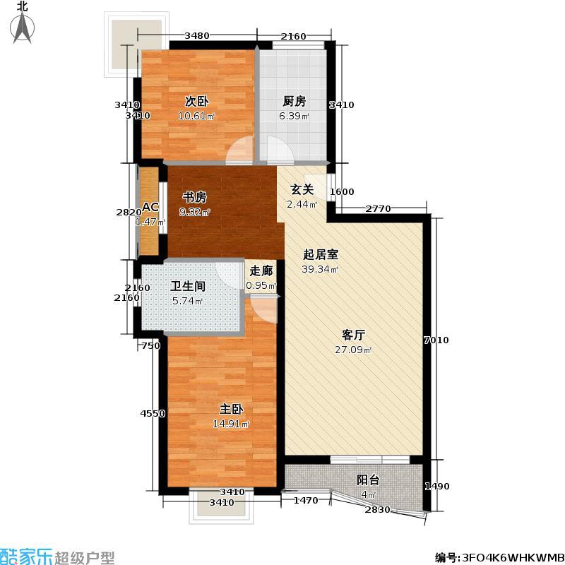 平江新城98.00㎡房型: 二房; 面积段: 98 -110 平方米; 户型