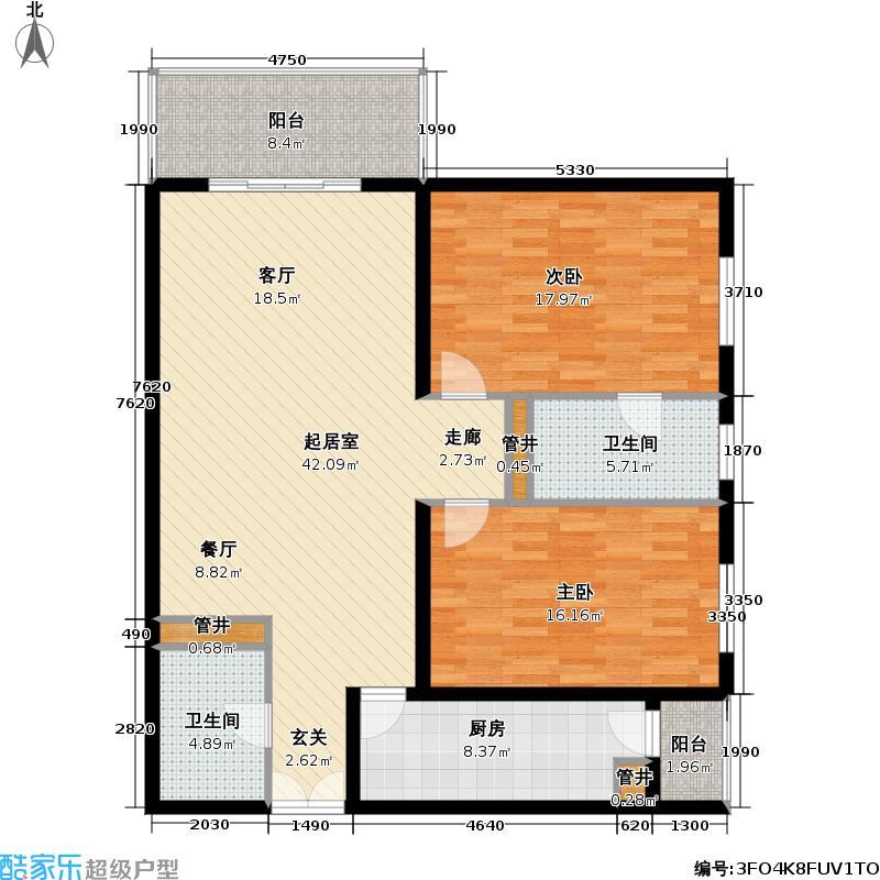 国展・国际120.90㎡2室1厅2卫1厨户型