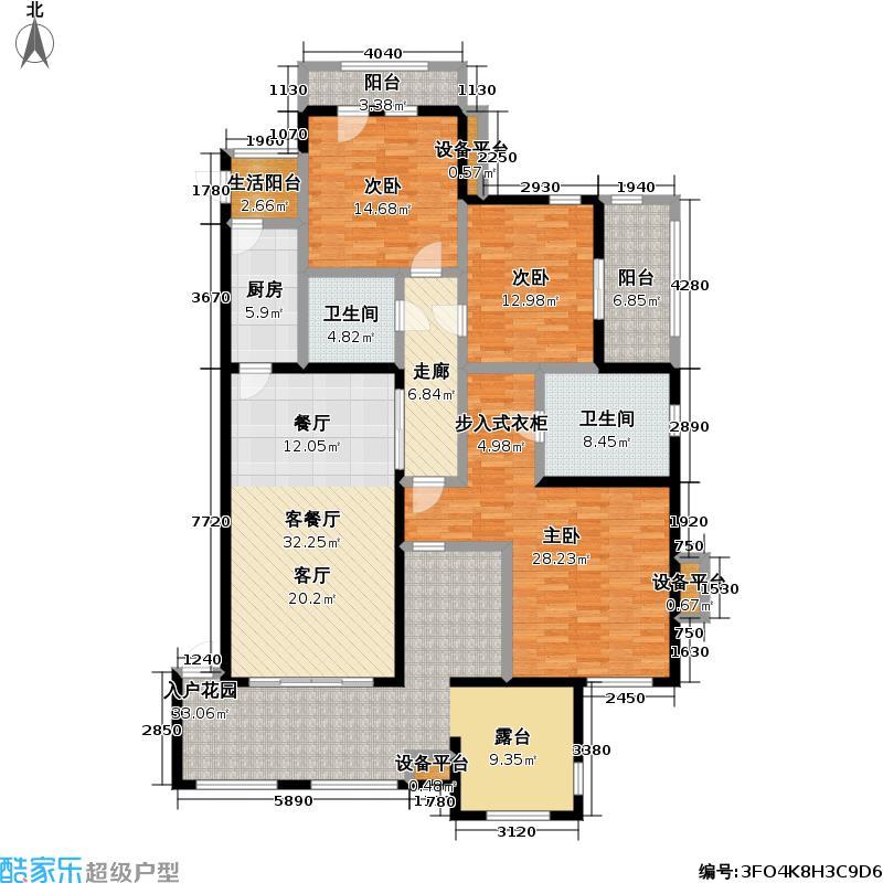 金科・帕提欧洋房165.00㎡美遇三室两厅两卫约户型