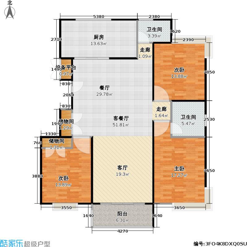 金铭福邸三期138.00㎡房型: 三房; 面积段: 138 -144 平方米; 户型