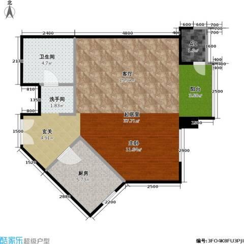 星源国际公寓1卫1厨63.00㎡户型图
