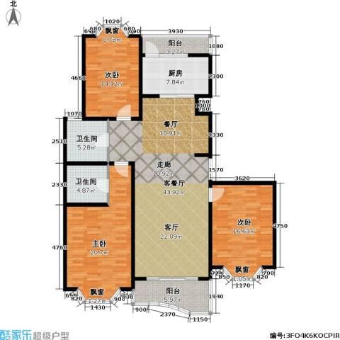 锦澳家园3室1厅2卫1厨170.00㎡户型图