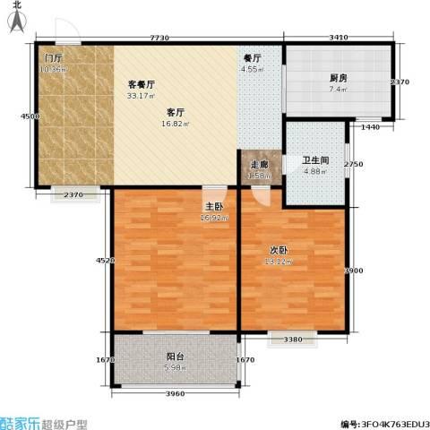 阳光海岸2室1厅1卫1厨87.00㎡户型图