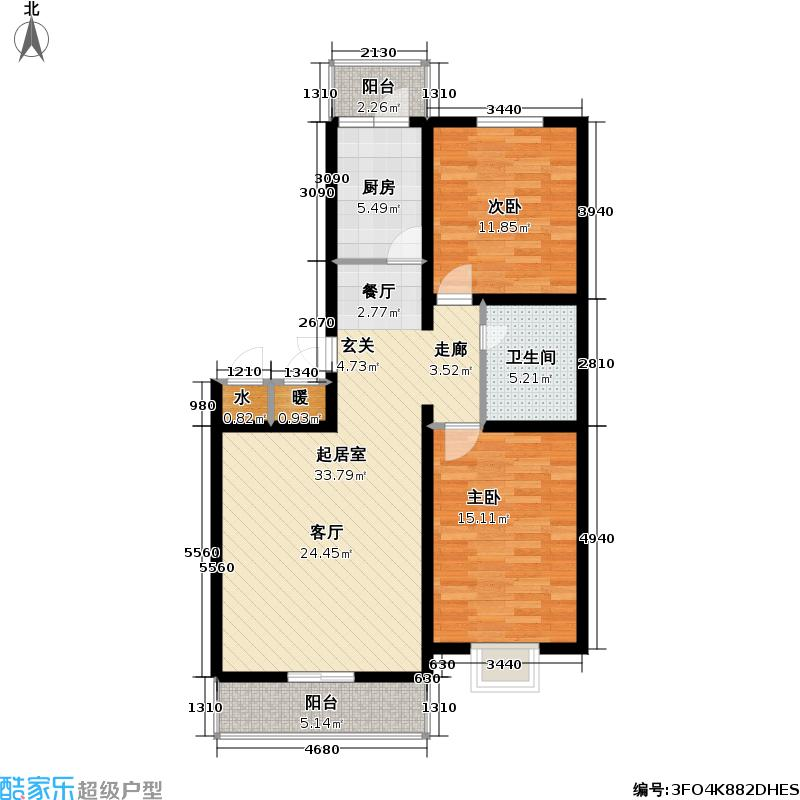 天地新城92.00㎡二室二厅一卫户型
