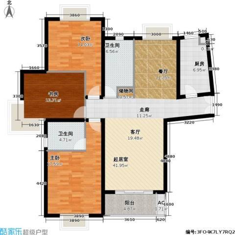 上海壹街区一期3室0厅2卫1厨134.00㎡户型图