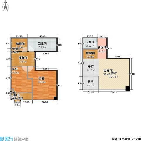 东晶国际2室1厅2卫1厨123.00㎡户型图