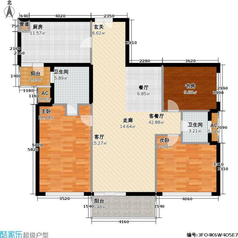世纪豪庭二期126.81㎡房型: 三房; 面积段: 126.81 -169.38 平方米; 户型