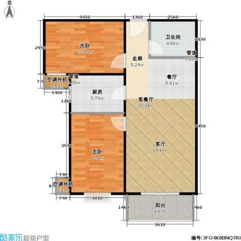 兴琦家园2室1厅1卫1厨87.00㎡户型图