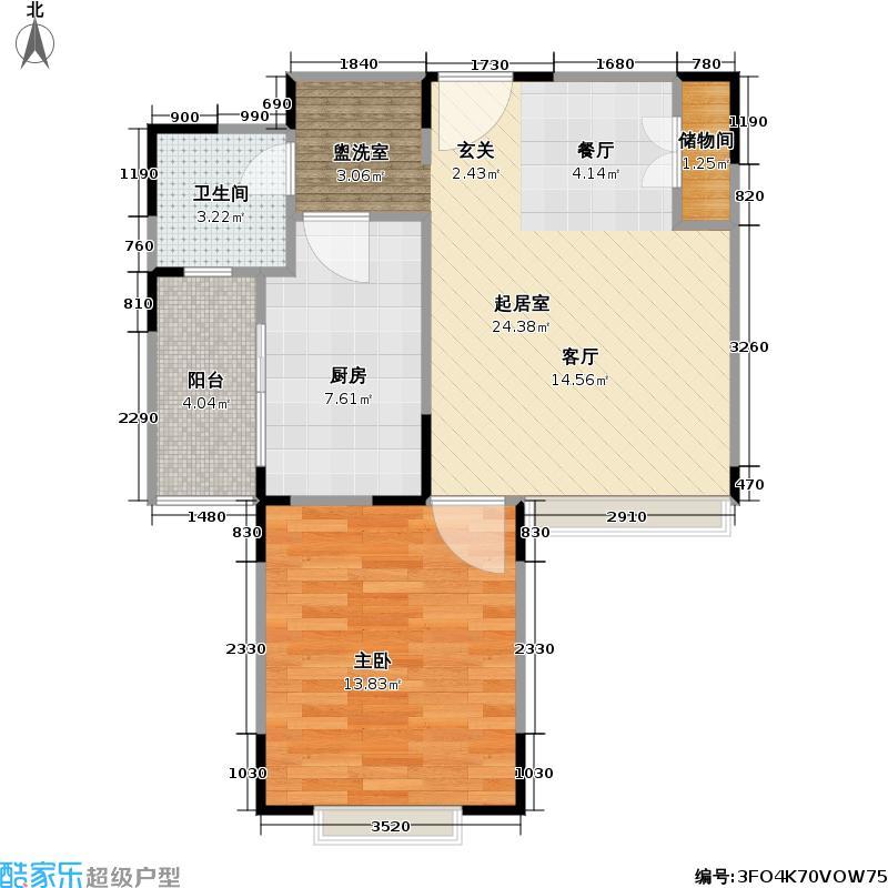 万邦都市花园三期房型户型1室1卫1厨